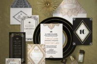 07 wedding invitation and reception stationery done in black, white and gold