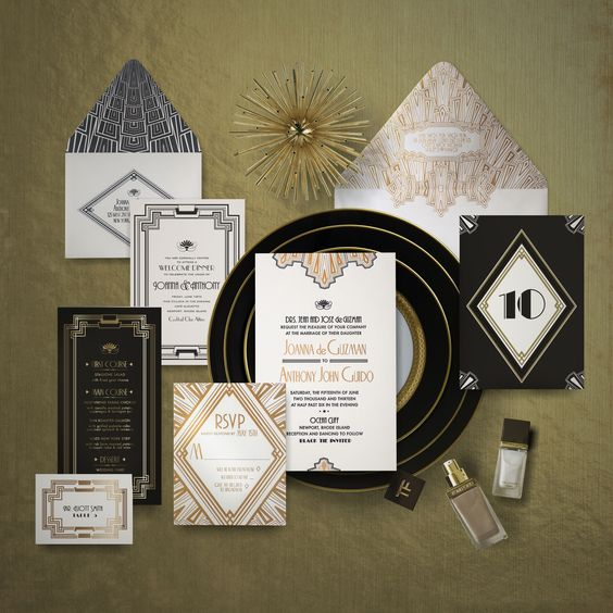 wedding invitation and reception stationery done in black, white and gold