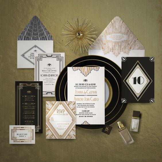 Hochzeit Einladung und den Empfang Briefpapier erfolgt in schwarz, weiß und gold