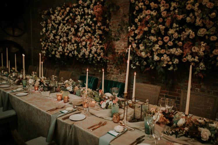 Luxurious emerald and mint touches and lots of blooms everywhere made the reception decadent and very refined