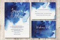 08 navy blue watercolor wedding invites for a seaside wedding