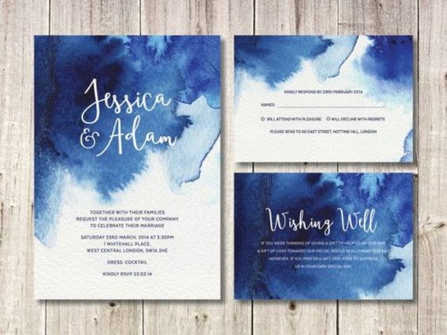 Dark Blue Wedding Invitations: Picture Of Navy Blue Watercolor Wedding Invites For A