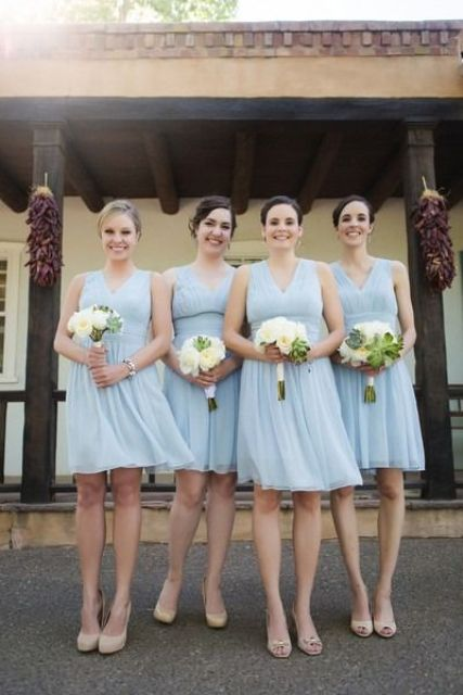 serenity blue over the knee bridesmaids' dresses with wide straps