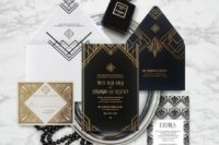 08 this suite fuses deco prints with bold angular lines inspired by the architecture of 1920s and 30s and is printed in gold foil and letterpressed on black and white papers