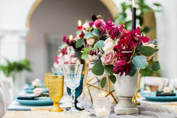 The vases are concrete ones, and gold terrariums added glam to the decor