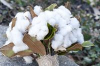 09 a lush cotton and magnolia leaves bouquet with a twine wrap for a southern bride