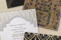 09 clean lines, geometric shapes make these gold and black invitations chic