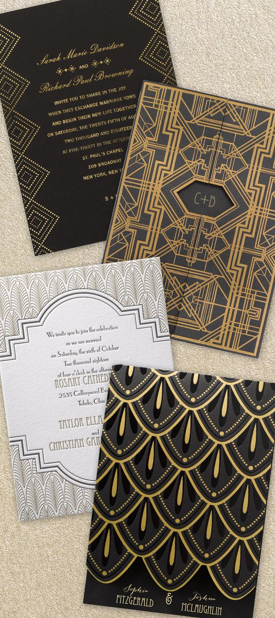 clean lines, geometric shapes make these gold and black invitations chic