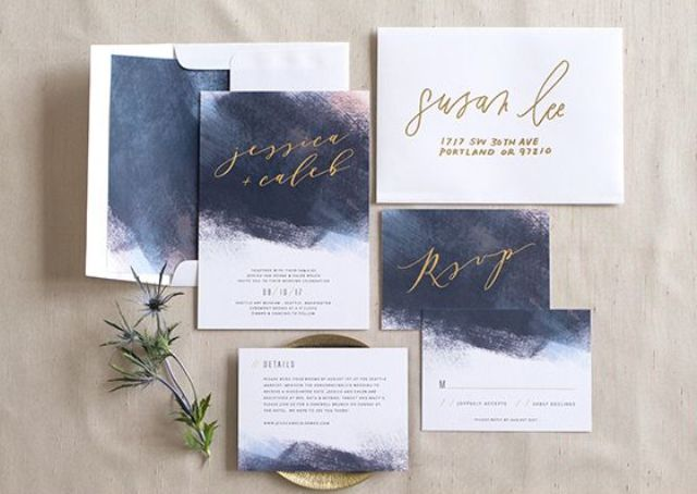 modern moody watercolor wedding invites with gold calligraphy for a dark-colored, refined or moody wedding