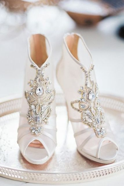 peep toe sheer wedding boots with heavy embellishments for a bold and sparkly look