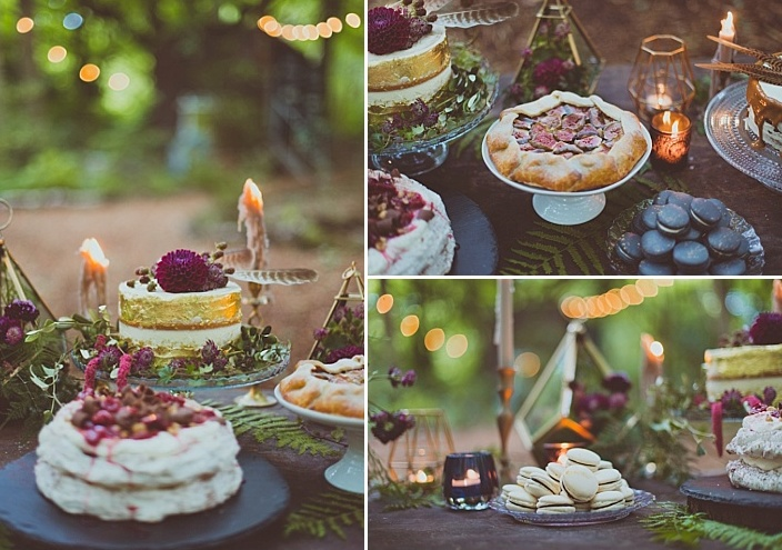 Naked cakes, a pavlova, various pies with berries, fruits and nuts perfectly fit the theme of the shoot