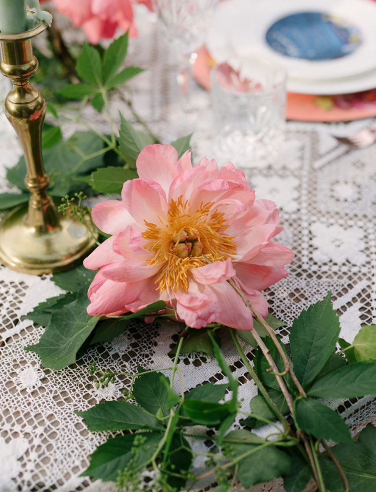 The table was decorated in pastels and with peonies