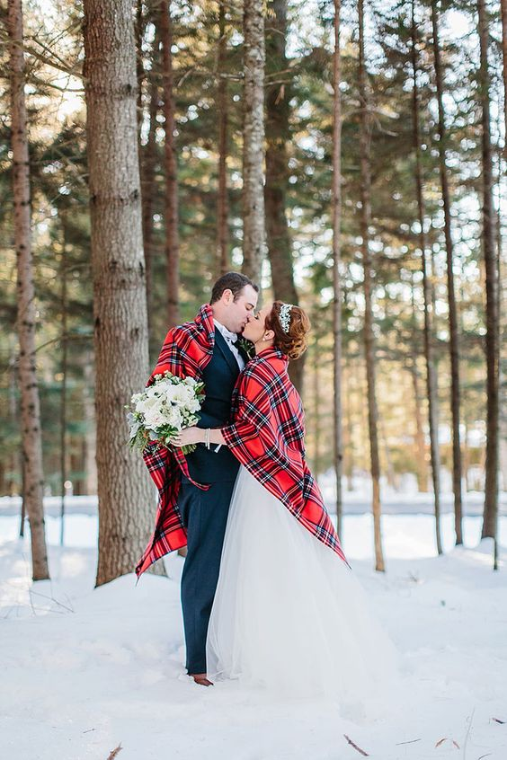 a plaid coverup for both of you to have amazing shots and feel cozy at the same time