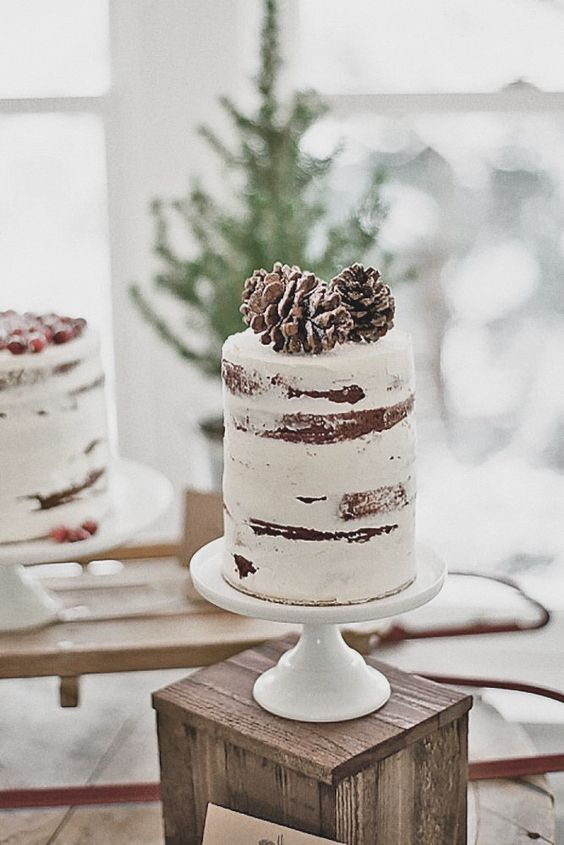 a tall semi naked wedding cake topped with pinecones looks like a real winter one