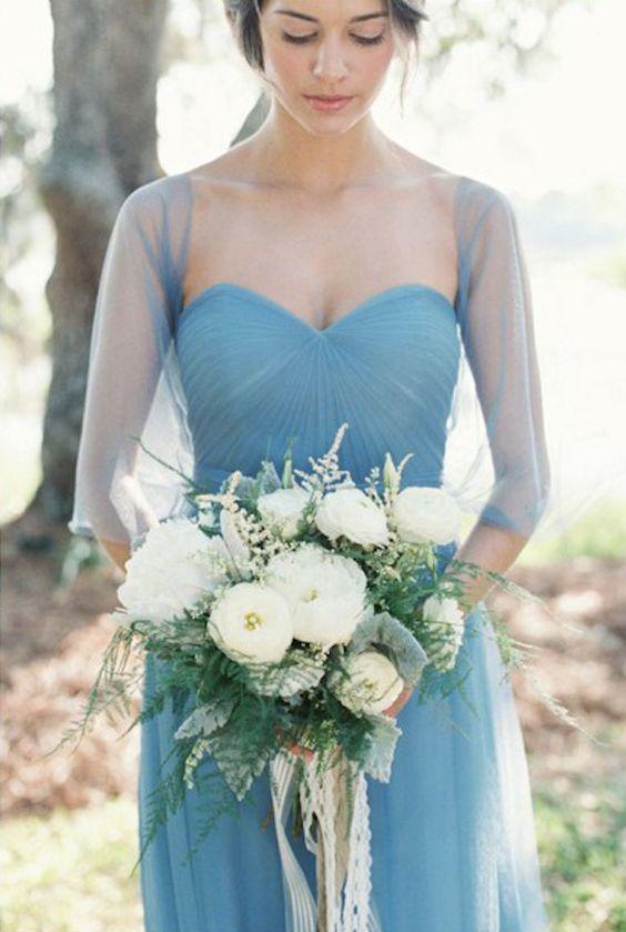 gedämpften blau herzförmiger Ausschnitt Brautjungfern-Kleid mit illusion-ärmel