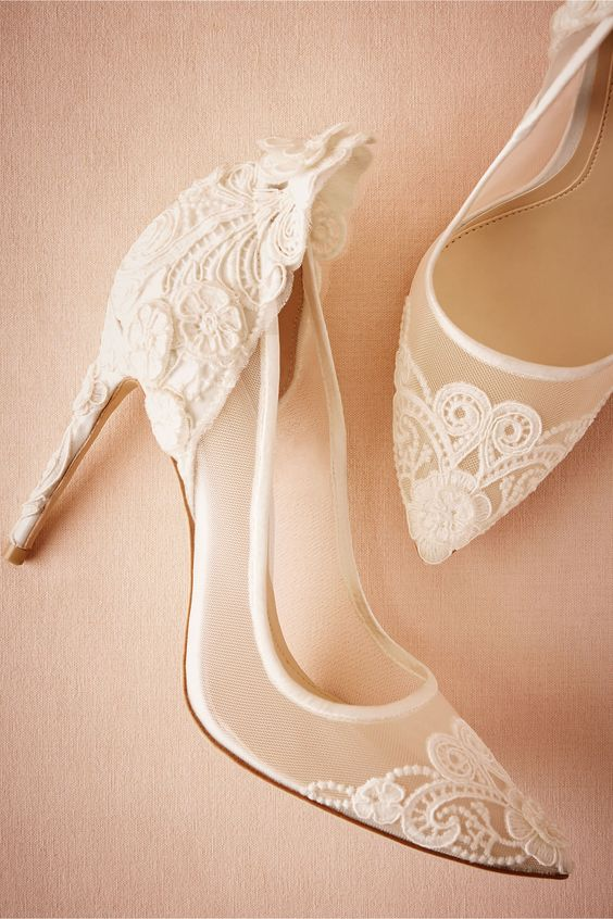 sheer white wedding shoes with lace decor look very romantic and delicate