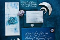 10 starry night themed wedding stationery with watercolor teal and grey invites and blue and teal envelopes