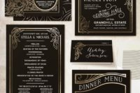 10 striking wedding invitations covered in antique gold foil lines