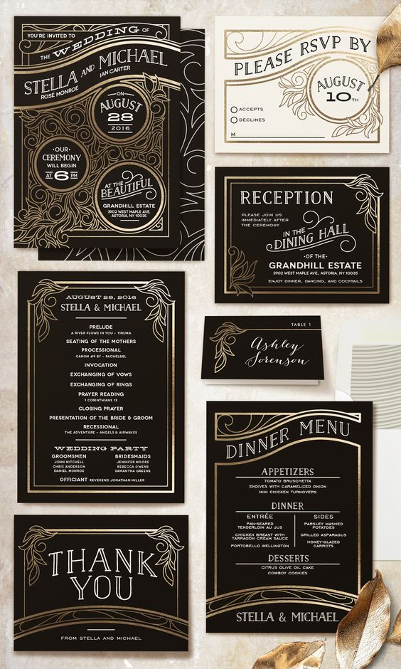 striking wedding invitations covered in antique gold foil lines