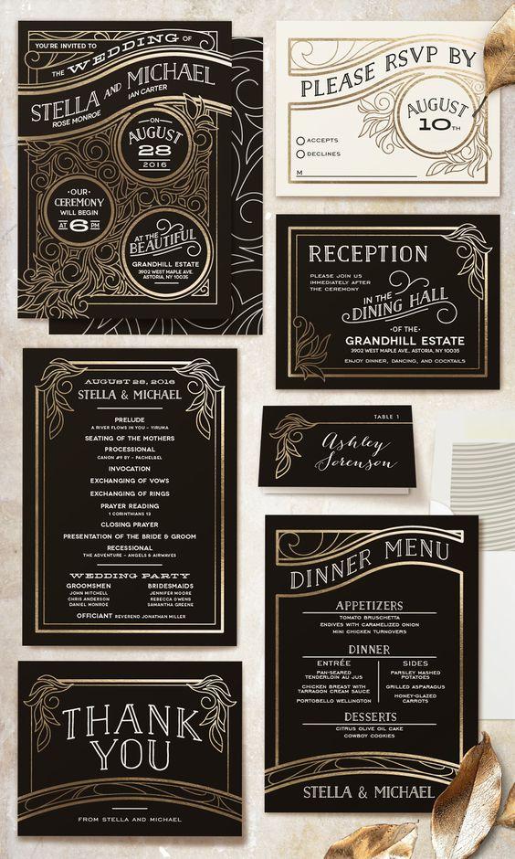 auffallend Hochzeit Einladungen abgedeckt in antik-gold-Folie Linien