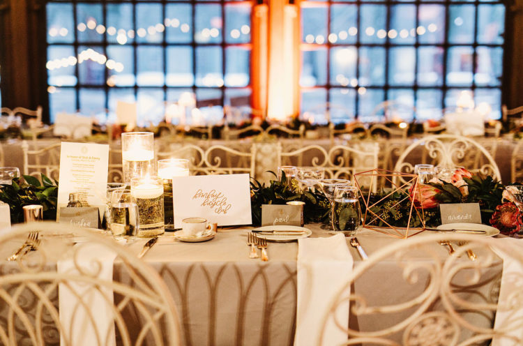 The reception was rustic, with candles, much greenery, geometric decorations and lights