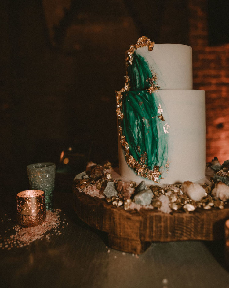 The wedding cake was an emerald one decorated with gold leaf to make it more chic