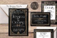 11 black, copper and white letterprint wedding invitations look very elegant