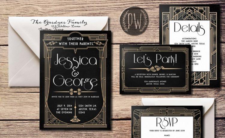 schwarz, Kupfer und weiß letterprint Hochzeit Einladungen sehen auch sehr elegant aus