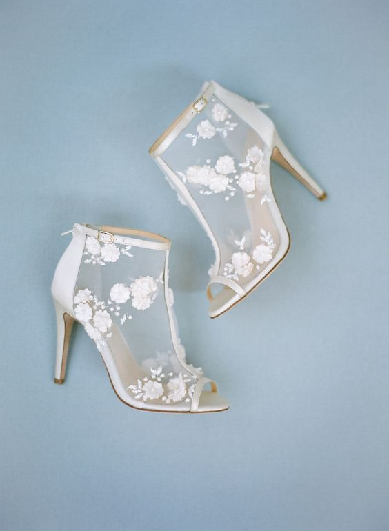sheer wedding booties with lace floral appliques and peep toes look super amazing
