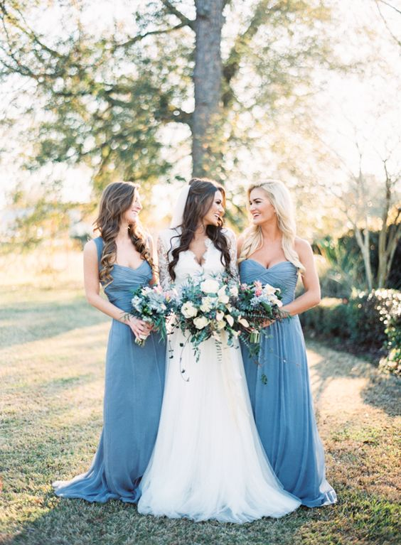 slate blue strap and strapless maxi dresses