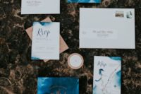 11 watercolor blue and copper wedding invitation suite for a chic colorful fall wedding