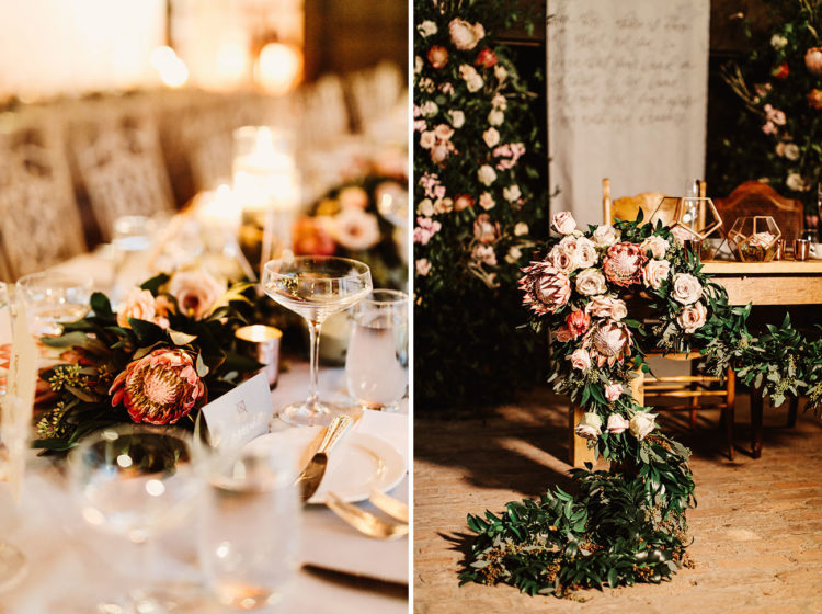 Proteas were chosen as main blooms for the reception, they are unique and very eye-catchy