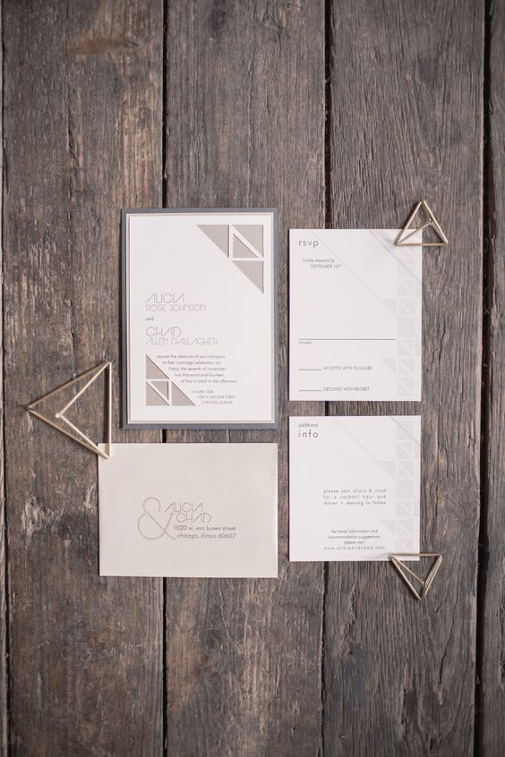 a modern grey geometric wedding stationery suite with simple letters for those who love simplicty and timeless look