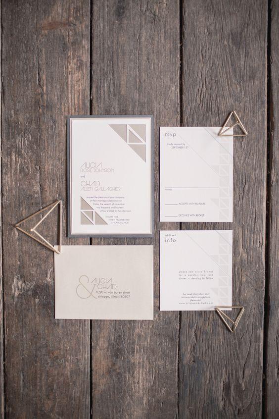 eine moderne graue geometrische Hochzeits-Briefpapier-suite mit einfachen Buchstaben für diejenigen, die Liebe simplicty und zeitlosen look
