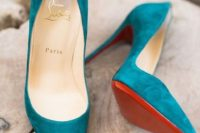 12 teal suede wedding heels will add a colorful touch and a textural feel to your look