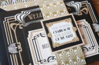 12 these pretty black and gold 1920s wedding invitations would be perfect for a great Gatsby inspired wedding
