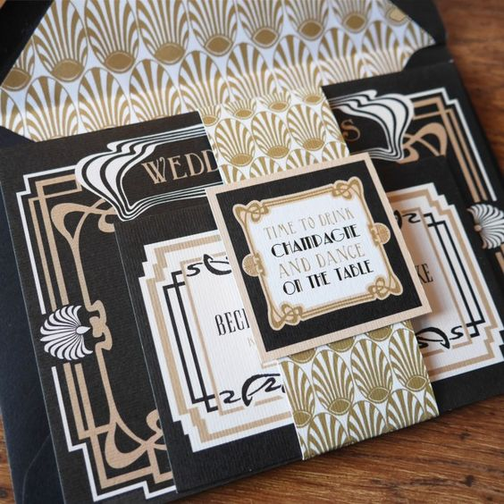 these pretty black and gold 1920s wedding invitations would be perfect for a great Gatsby inspired wedding