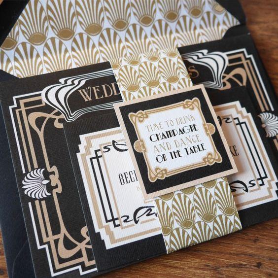 diese hübschen schwarz und gold 1920er Jahren Hochzeitseinladungen wäre perfekt für eine große Gatsby-inspirierten Hochzeit