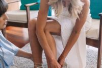 12 white peep toe lace up heels for a more refined wedding look