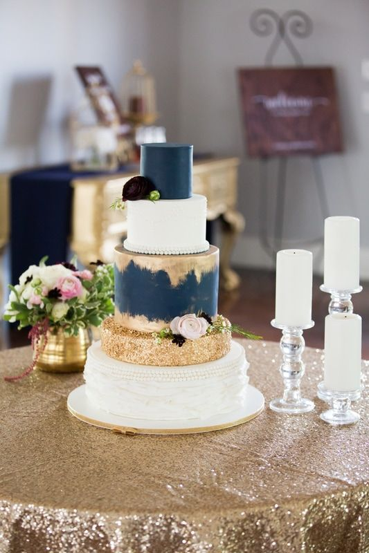 Picture Of A Wedding Cake With Navy And Gold Glitter Layers And