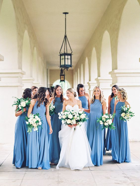 beautiful robin's egg blue bridesmaids' dresses with a halter neckline and a maxi skirt