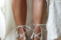 13 boho-inspired white and tan geo lace up heeled sandals for a boho bride