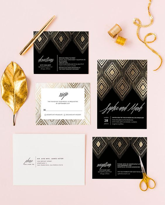 gilded ikat black wedding invitations and white envelopes for a 20s inspired wedding