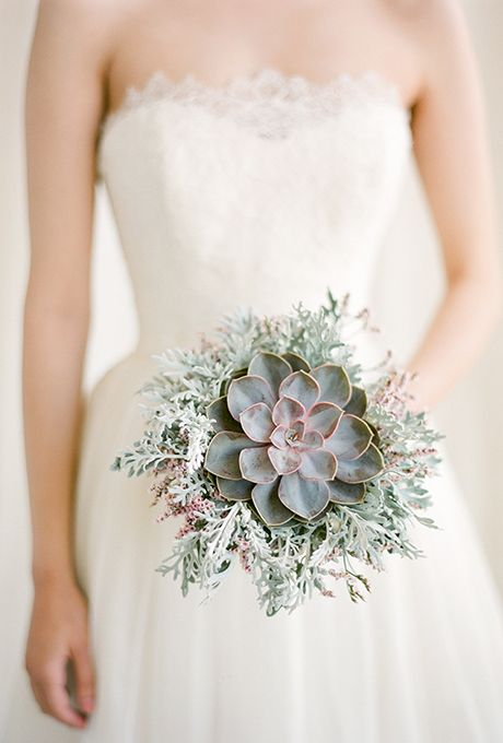 a pale succulent with pale millet and some pink touches for a non-traditional bride