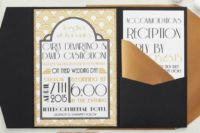 14 an art-deco pattern was paired with black pocketfolds, antique gold envelopes and gold glitter