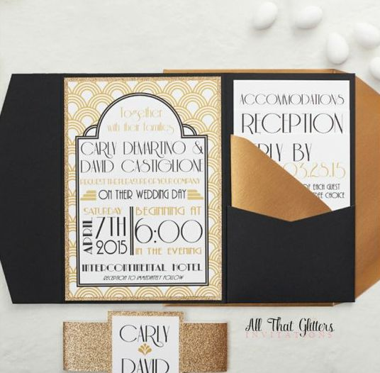 an art-deco pattern was paired with black pocketfolds, antique gold envelopes and gold glitter