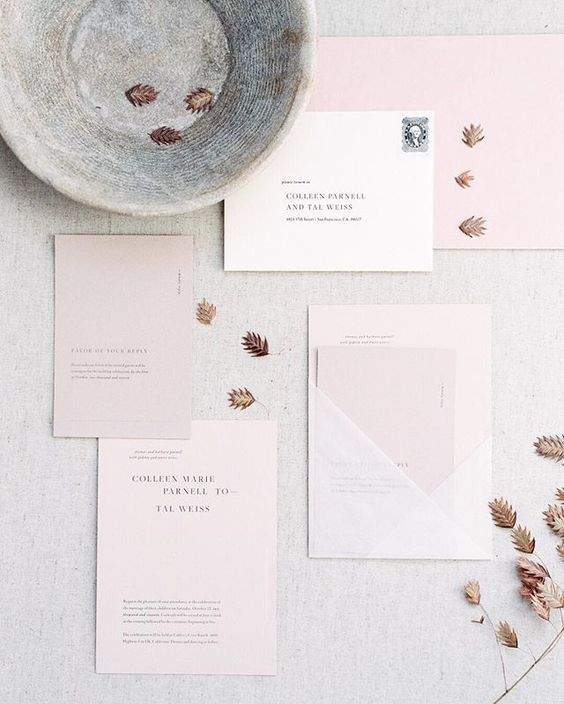 blush and white geometrical wedding stationery for a pastel modern wedding