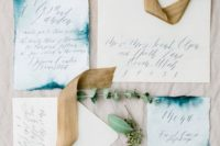 14 chic indigo watercolor edge invitation suite with a raw edge and calligraphy for a bold wedding