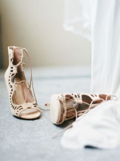 neutral laser cut peep toe wedding shoes with lacing up for a relaxed yet very chic bridal look