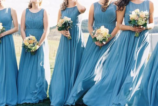French blue sleeveless illusion neckline bridesmaids' dresses